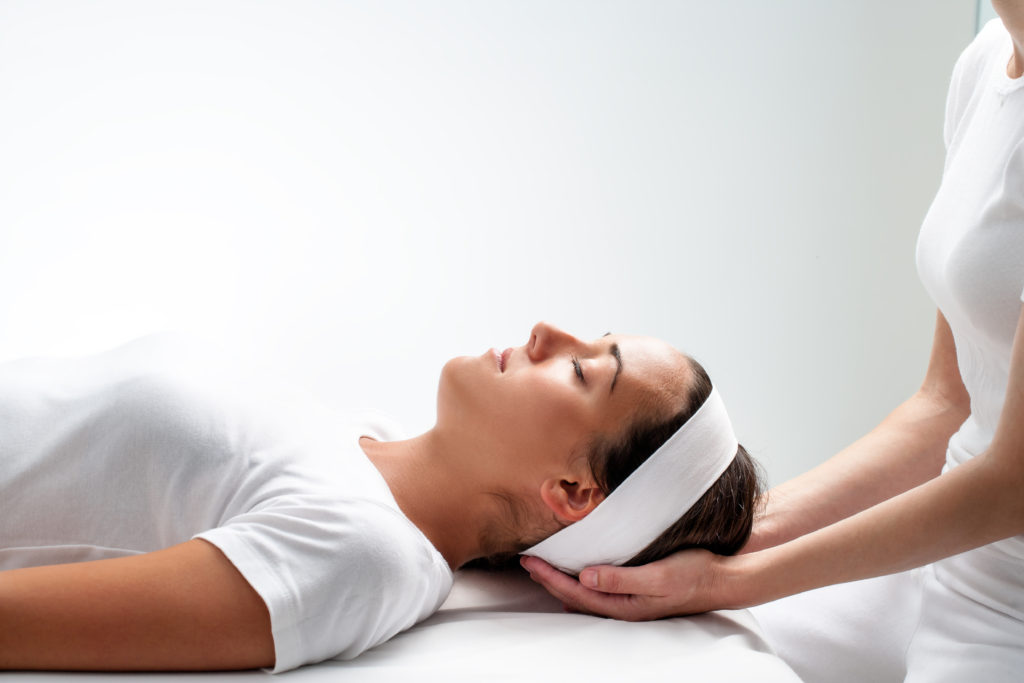 Craniosacral Therapy -women client relaxing