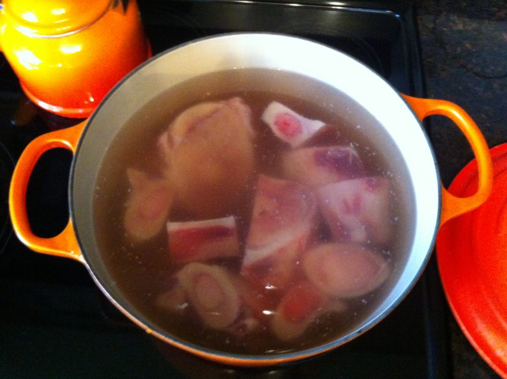amazing bone broth cooking in pot